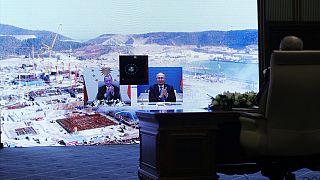 Cumhurbaşkanı Recep Tayyip Erdoğan ve Rusya Federasyonu Devlet Başkanı Vladimir Putin, Akkuyu Nükleer Güç Santrali'nin Üçüncü Ünitesinin Temel Atma Töreni'ne katıldı
