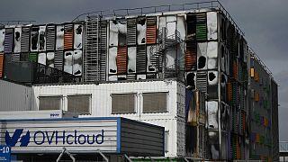 Le bâtiment d'OVHcloud, victime d'un incendie. Strasbourg, le 10 mars 2021