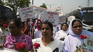 Bangladeshi relatives of victims of the Rana Plaza building collapse take part in a protest