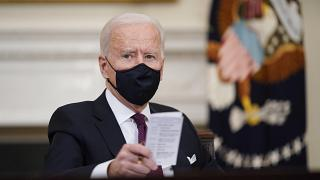 n this March 5, 2021, file photo, President Joe Biden participates in a roundtable discussion on a coronavirus relief package at the White House.