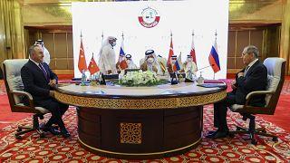 وزرای خارجه ترکیه، روسیه و قطر در دوحه
