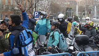 Protesta reciente de un grupo de repartidores en Madrid