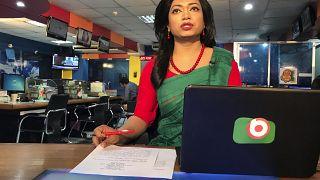Bangladesh's first transgender news anchor Tashnuva Anan Shishir reads news bulletin , in Dhaka, Bangladesh, Tuesday, March 9, 2021.