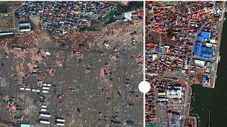 تصاویر ماهوارهای و روند بازسازی منطقه تخریبشده فوکوشیما