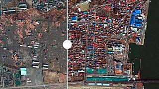 Le immagini satellitari che mostrano la zona di ricostruzione portuale della città di Fukushima, 10 anni dopo terremoto e tsunami
