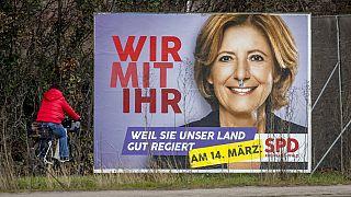 Malu Dreyer (SPD) auf dem Wahlplakat vor Landtagswahl in Rheinland-Pfalz am Sonntag 14. März 2021