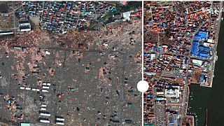 La ville d'Ishinomaki, balayée par le tsunami de 2011