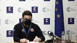 Ο υφυπουργός Πολιτικής Προστασίας, Νίκος Χαρδαλιάς στην καθιερωμένη ενημέρωση για την εξέλιξη της πανδημίας στην Ελλάδα, στο υπουργείο Υγείας