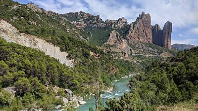 A set of conglomerate rock formations called Mallos de Riglos, located in the municipality of Las Peñas de Riglos, in the Hoya de Huesca comarca, in Aragon, Spain.