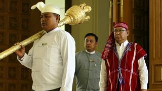 Mahn Win Khaing Thanm, then Parliament Chairman, arrives to attend the first day of a regular session of the Union Parliament in Naypyitaw, Myanmar, Jan. 30, 2017.