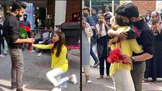 Pakistan'ın Lahor kentinde, üniversiteli kız ve evlilik teklif edip sarıldığı erkek arkadaşı okuldan atıldı