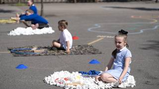 Children at Seymour Road Academy sit in designated areas in the playground during the coronavirus outbreak in Manchester, England, Wednesday May 20, 2020.