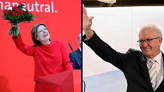 Malu Dreyer (SPD) e Winfried Kretschmann (Verdes) celebram os triunfos de domingo