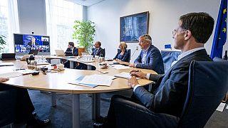 Dutch Prime Minister Mark Rutte attends an European summit in video
