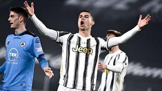 Cristiano Ronaldo a Spezia ellen játszott mérkőzésen a torinói Allianz Stadionban 2021. március 2-án
