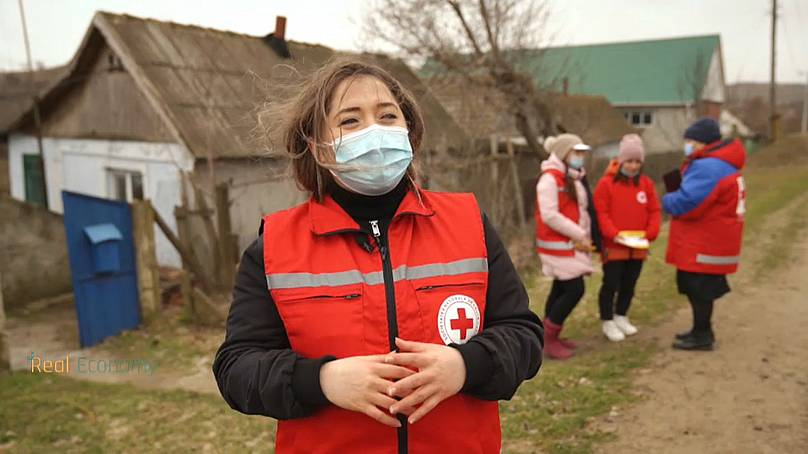 A Moldova Red Cross worker helping rural communities