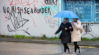 Graffiti in a loyalist area of south Belfast, Northern Ireland against an Irish sea border