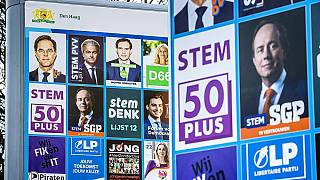 Wahlplakat vor den Parlamentswahlen in Den Haag, 18.02.2021