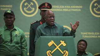 In this July 11, 2020 file photo, Tanzania's President John Magufuli speaks at the national congress of his ruling Chama cha Mapinduzi (CCM) party in Dodoma, Tanzania.
