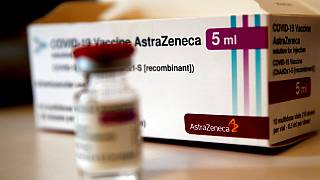 A box of AstraZeneca vaccine is pictured in a pharmacy in Boulogne Billancourt, outside Paris, Monday, March 15, 2021