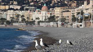 Empty beach of Nice, on the French riviera