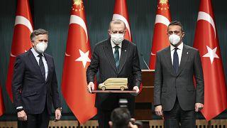 Ford Otosan Yönetim Kurulu Başkanı Ali Koç, Ford Avrupa Başkanı Stuart Rowley, Cumhurbaşkanı Erdoğan