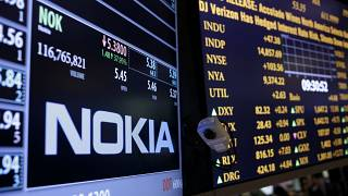 The Nokia brand name is displayed on the floor of the New York Stock Exchange in New York.
