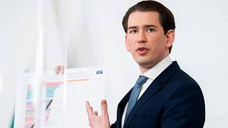 Austria's Chancellor Sebastian Kurz speaks during a press conference on the current situation regarding the delivery of vaccines against the novel coronavirus COVID-19 disease
