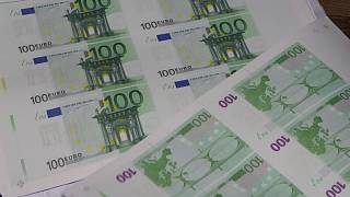 Counterfeit euros are seen at a printing office in a Sofia university. March 16, 2021.