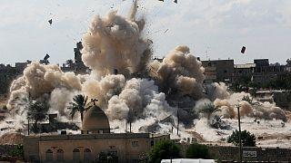 صورة أرشيفية من 29 أكتوبر 2014 لهدم الجيش المصري منازل في مدينة رفح الحدودية