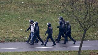 Belarusian riot police detain a demonstrator during an opposition rally in Minsk in November.