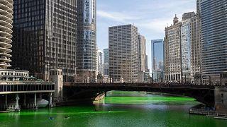 El río Chicago se tiñó de verde antes del Día de San Patricio, el sábado 13 de marzo de 2021.