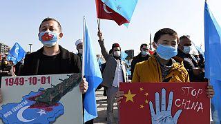 جانب من مظاهرة للإيغور في اسطنبول ضد الصين، 26 فبراير 2021