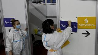 في أحد المراكز الصحية في بلغراد في صربيا