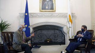 European Union foreign policy chief Josep Borrell and Cyprus' president Nicos Anastasiades