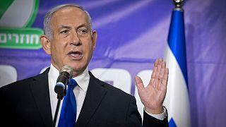رئيس الوزراء الإسرائيلي بنيامبن نتياهو يتحدث إلى الثحافيين في تل أبيب. 2021/03/08