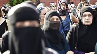 People oppose a burqa ban in Denmark. A similar ban exists in Austria, under which an animal rights activist was fined for wearing a cow mask.