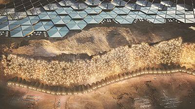 Nüva city located at Tempe Mensa, Mars