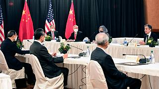 Senior Chinese and US officials including Secretary of State Antony Blinken, far right, at the US-China talks in Anchorage, Alaska, Thursday, March 18, 2021.