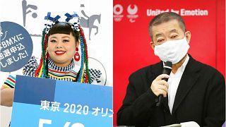 Moda tasarımcısı Naomi Watanabe (solda), Tokyo Olimpiyatları Sanat Direktörü Hiroshi Sasaki.