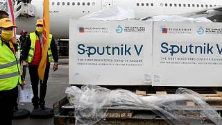 Boxes loaded with the Russian Sputnik V COVID-19 vaccine arrive at Tunis airport, Tuesday, March 9, 2021