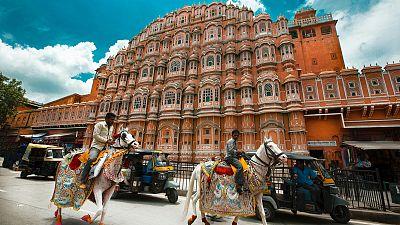 The pink-coloured Hawa Mahal in Jaipur, India.