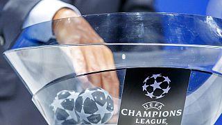 UEFA Şampiyonlar Ligi kura çekiminden bir kare.