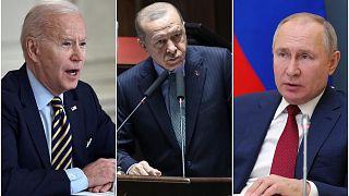 الرئيس الروسي فلاديمير بوتين والرئيس التركي رجب طيب آردوغان والرئيس الأمريكي جو بايدن