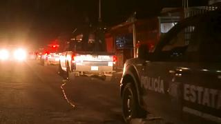Coatepec Harinas, 18 March 2021. Police and military trucks passing by crime scene