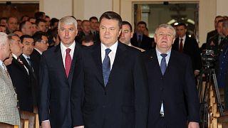 Viktor Yanukovich, center