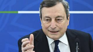 Italy's Prime Minister, Mario Draghi speaks during a press conference following a Cabinet meeting in Rome, Friday, March 19, 2021.
