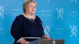 رئيسة وزراء النرويج تتحدث خلال مؤتمر صحفي في أوسلو. 2020/09/03