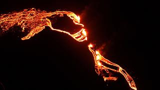 Lava flows from the erupting Fagradalsfjall volcano, 50 km west of the Icelandic capital Reykjavik. March 19, 2021
