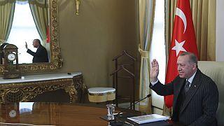 Erdogan durante a receção ao presidente do Conselho Europeu, Charles Michel